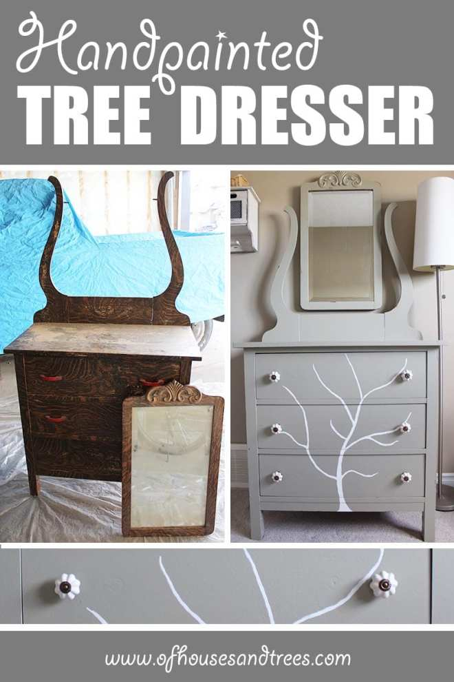 Handpainted Tree Dresser | Before and after of a DIY furniture refinishing project featuring a dresser with a handpainted tree.