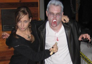 Dressed as Buffy and Spike for Halloween, long before we ever knew we'd one day need a baby Superhero onesie.