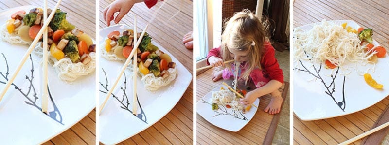 My toddler hijacking my photoshoot and eating the subject, aka my healthy veggie stir fry recipe.