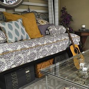 A bohemian home decor style living room.
