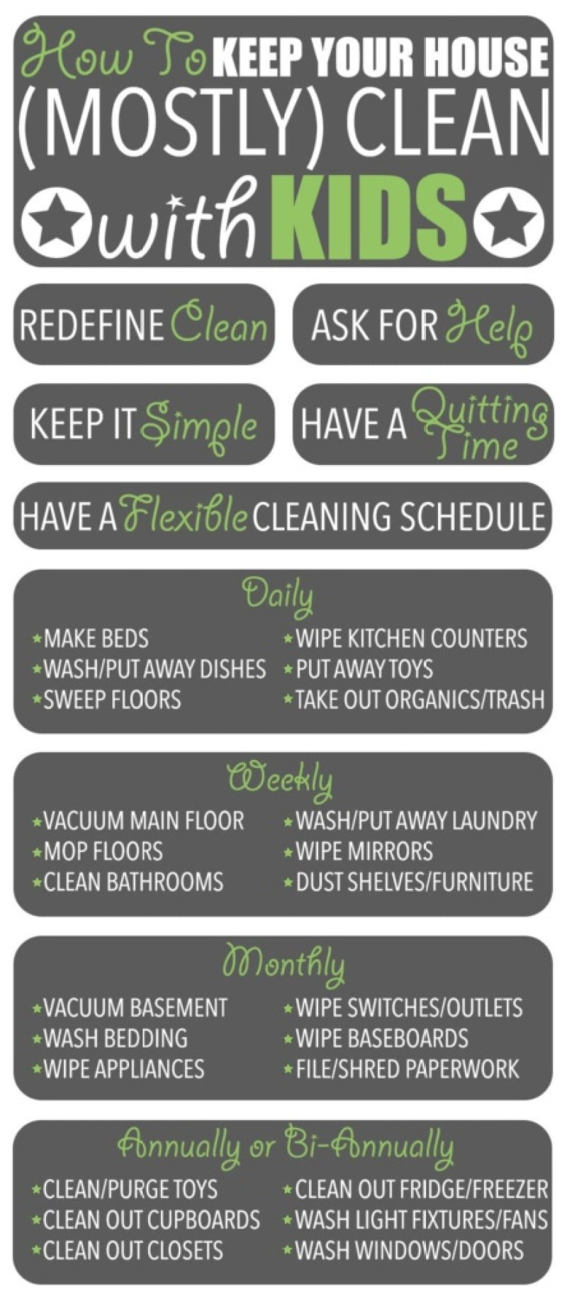 """Cleaning Tips   Have children? Find it impossible to keep your house clean? Me too! But I have figured out how to keep my home """"mostly clean."""" Here are my cleaning tips!"""