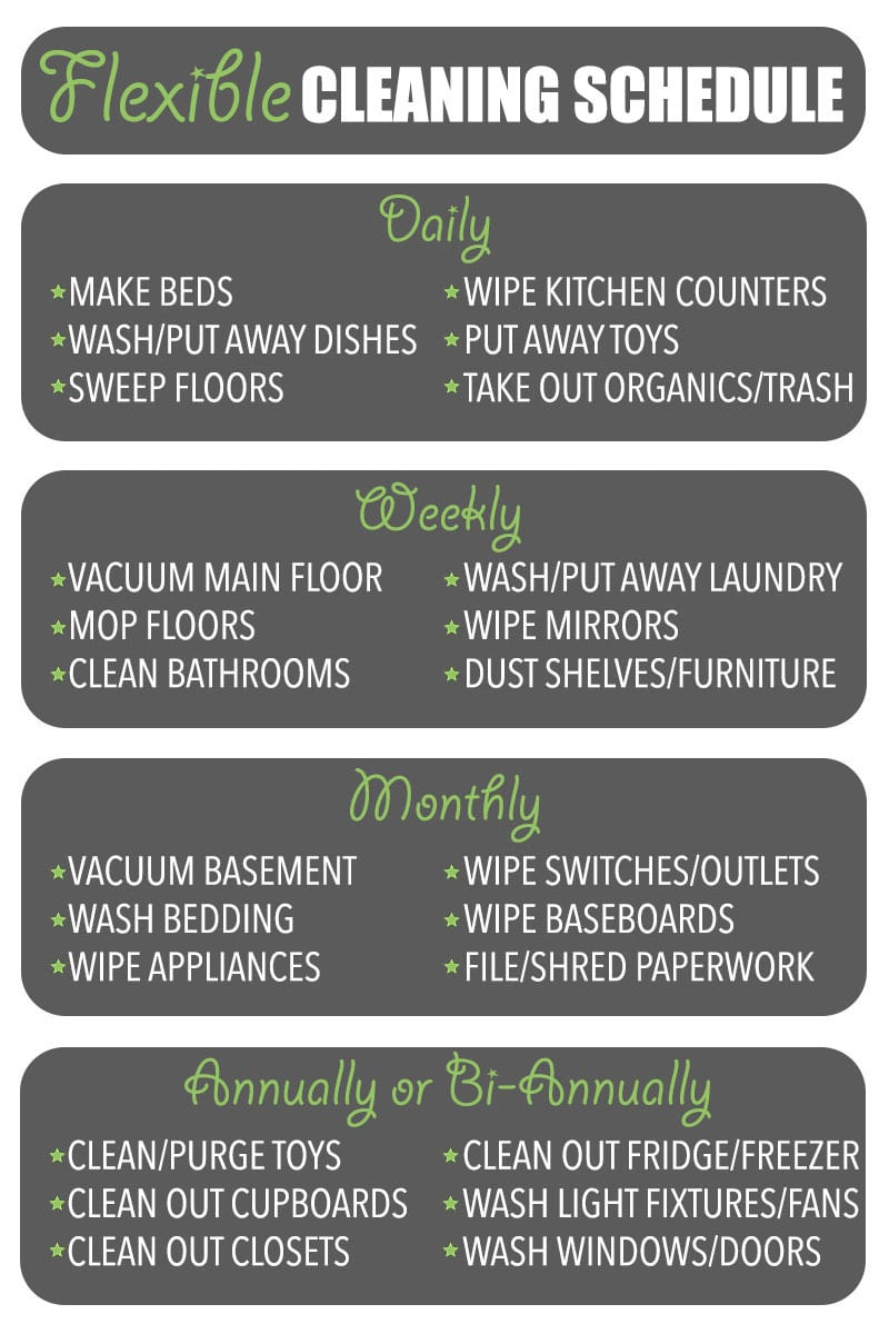 One of my cleaning tips is to have a flexible cleaning schedule... That you can ignore if you need to!