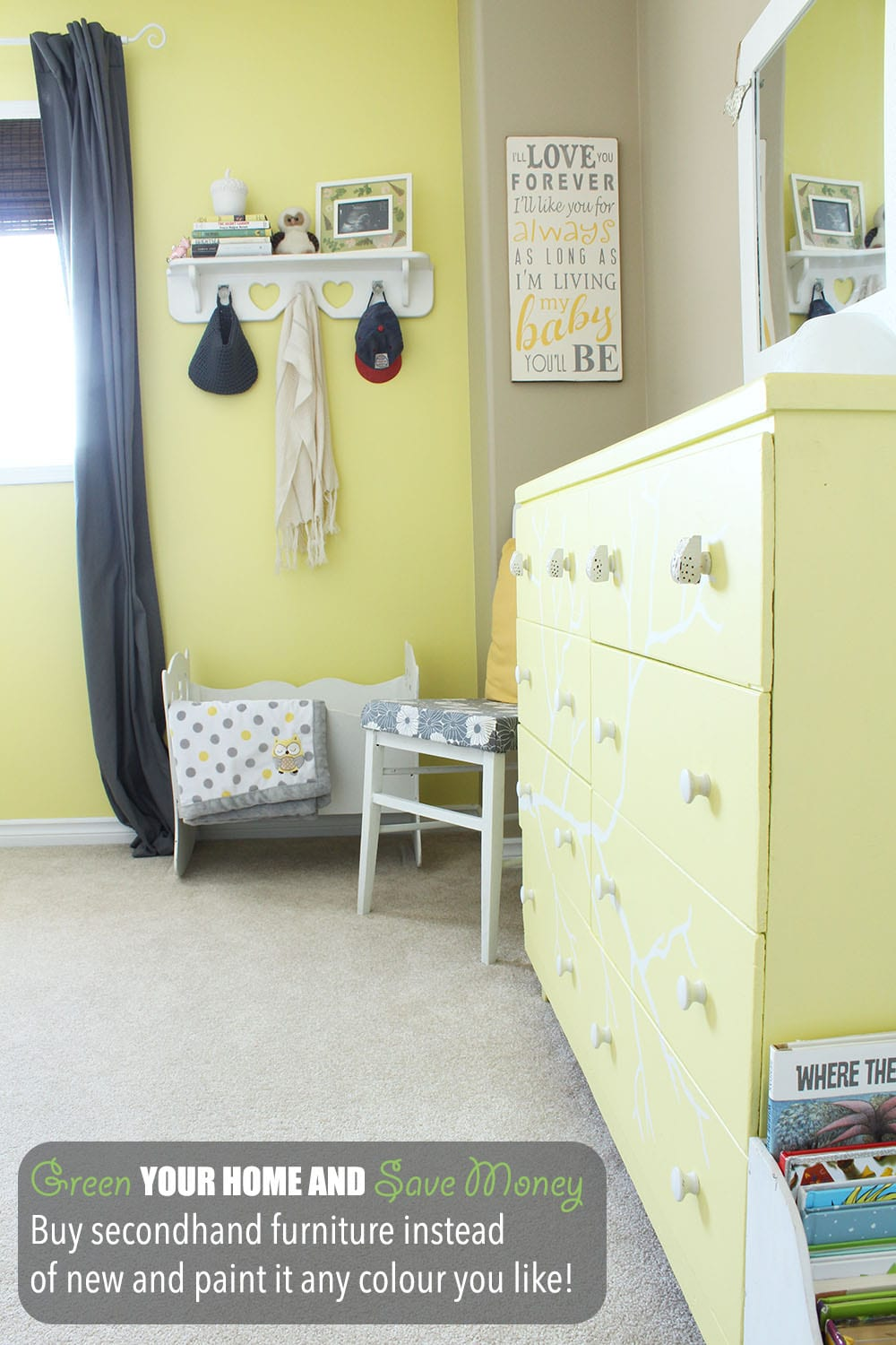 Green your home and save money by shopping secondhand. Plus, secondhand furniture can be painted any colour you like and has that oh-so-popular vintage charm.