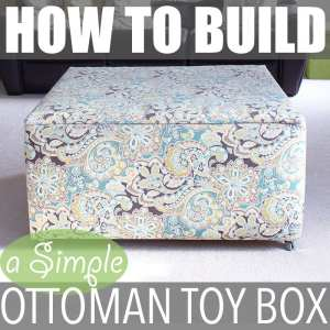 "Ottoman Toy Box | Instructions on how to build a 36"" wide x 36"" wide x 18"" ottoman toy box. Serves multiple functions as a storage box, a coffee table and a statement piece."