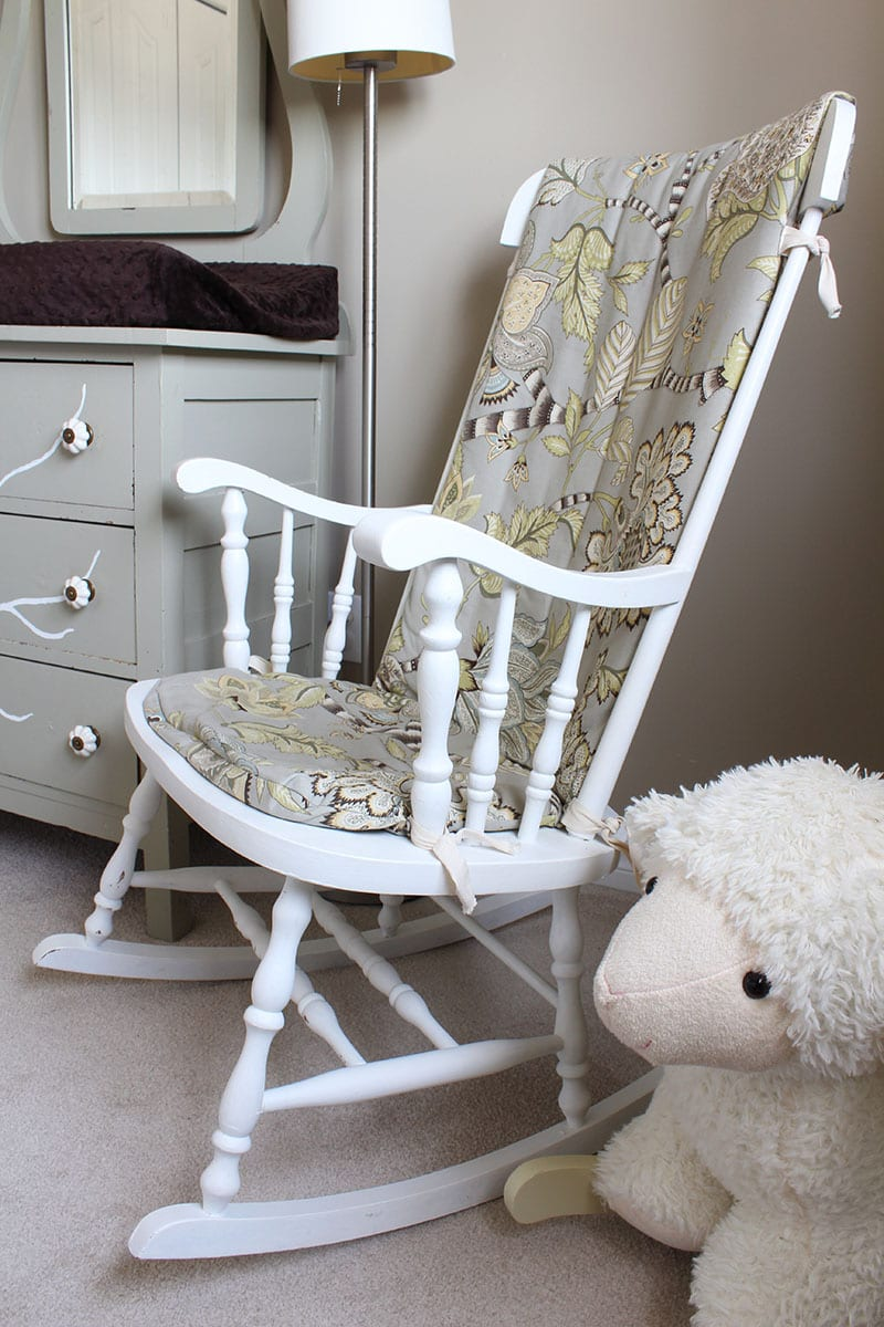 Painted secondhand rocking chair with custom DIY rocking chair cushion.