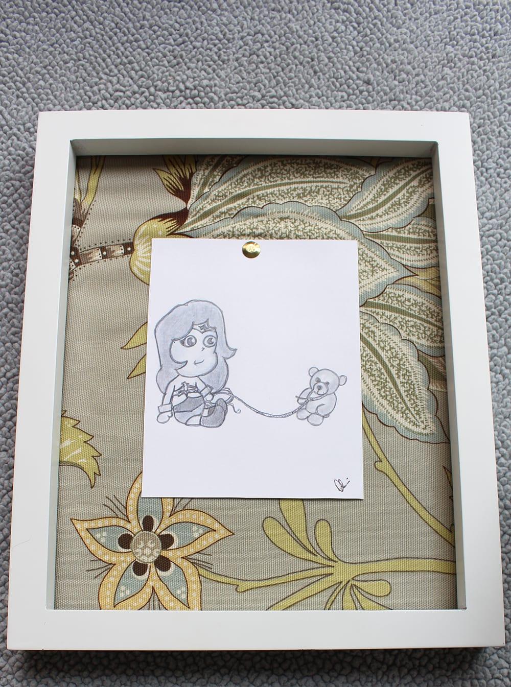 Hand drawn baby superhero art - Baby Wonder Woman.