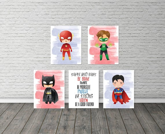 Baby superhero art by EllowDee via Etsy.