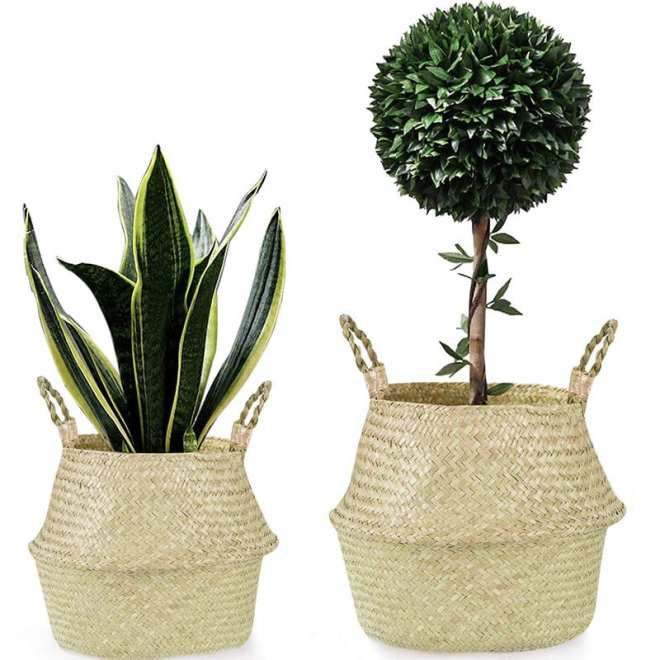 "Welcome to ""Green This Look,"" where I show you how to create an eco-friendly living room and offer some bohemian decor ideas - that are great for any space! Like these handwoven seagrass plant baskets."