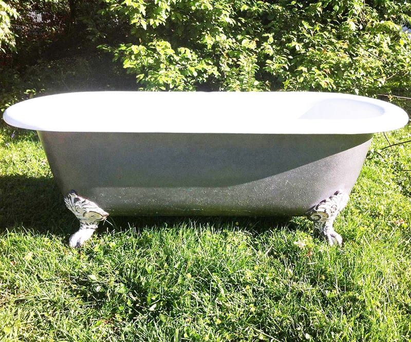 """Looking to create an eco-friendly bathroom? It's the perfect opportunity to green everything - including your tub, sink, faucet, vanity and toilet! An antique clawfoot tub is one way to put the """"reuse"""" in """"reduce, reuse, recycle!"""""""