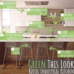 """Welcome to the next entry in my """"Green This Look"""" series, featuring a rustic industrial style kitchen filled with très cool and earth-friendly finishes!"""