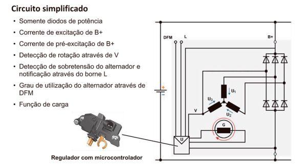 Diagrama elétrico simplificado do regulador de tensão com micro-controlador.