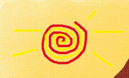 Pôr-do-Sol. O Sol está escurecendo, perdendo seu brilho... sabemos que irá voltar, mas também sabemos que hoje por hoje o ciclo já está no seu fim, esta é a face do Ancião. Desenho: Rosea Bellator.