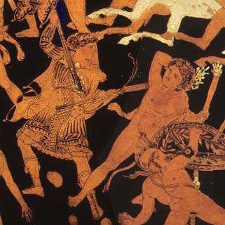 Musée du Louvre, Paris, France. No detalhe: Hekate lutando contra o gigante Klytios. A imagem só foi possível fazendo uma pequena montagem de duas imagens do mesmo vaso.