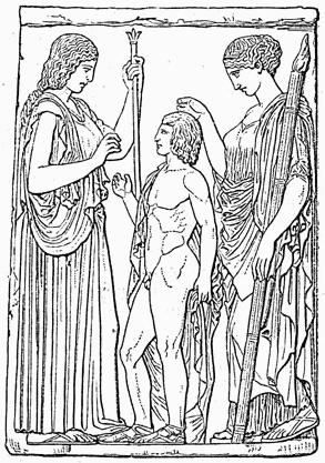 Deméter e Perséfone, Triptolemus criança (baixo-relevo de Eleusis, Atenas).