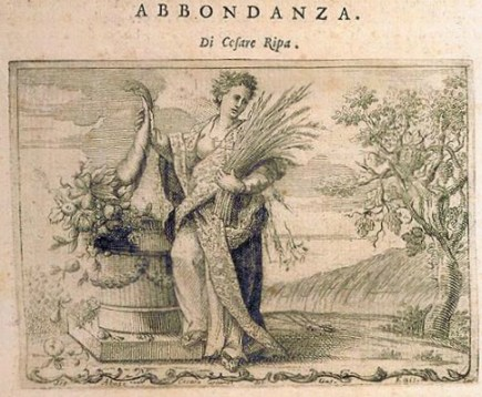 """Cornucópia - A abundância (""""Abbondanza"""") - de Cesare Ripa. Está aí uma boa imagem que representa a força da gratidão, do agradecimento, a cornucópia, pois aquele que é grato sem tem tudo em abundância."""