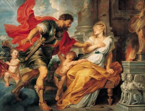 Ares, o vermelho - Óleo sobre tela de Pieter Paul Rubens, cerca de 1617. Título original em italiano:  Marte e Rea Silvia.