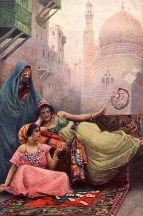A cartomante. Tela de Fabio Fabbi (1861-1946).