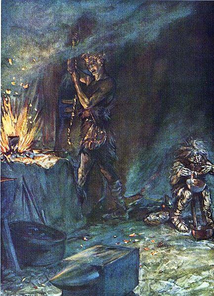 Siegfried reforja a espada Nothung enquanto Mime prepara uma poção para dormir para si. Ilustração de Arthur Rackham (1867 - 1939).
