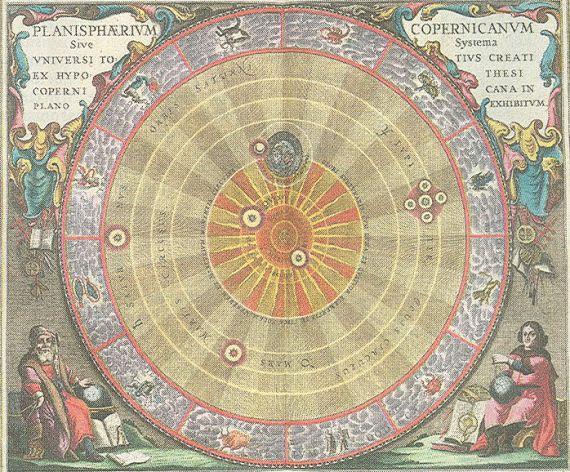 O Sistema Solar, de acordo com Nicolau Copérnico, em Harmonia Macrocosmica, um Atlas Estelar escrito por Andreas Cellarius e publicado em 1660 por Johannes Janssonius.