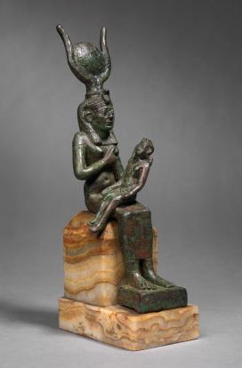 Estátua egípcia de bronze de Ísis e Hórus, 715-332 aC.