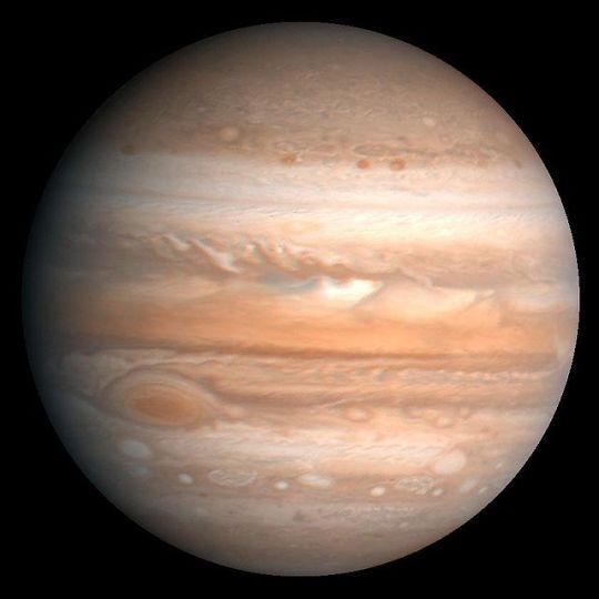 Essa coloração processada de Jupiter foi produzida 1990 por U.S. Geological Survey de um Voyager, de 1979.
