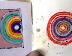 gravura linóleo + aguarela