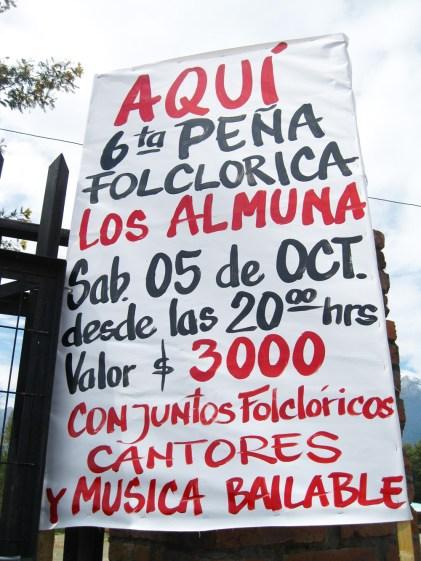 Afiche de la 6ta Peña Folclórica los Almuna
