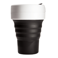 Silicone-Retractable-Folding-Coffee-Cup-Telescopic-Collapsible-Pocket-Black