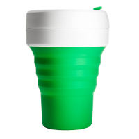 Silicone-Retractable-Folding-Coffee-Cup-Telescopic-Collapsible-Pocket-Green