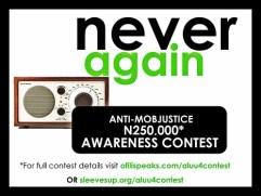 #aluu4 Anti-Mob Justice Awareness Contest #NeverAgainNG