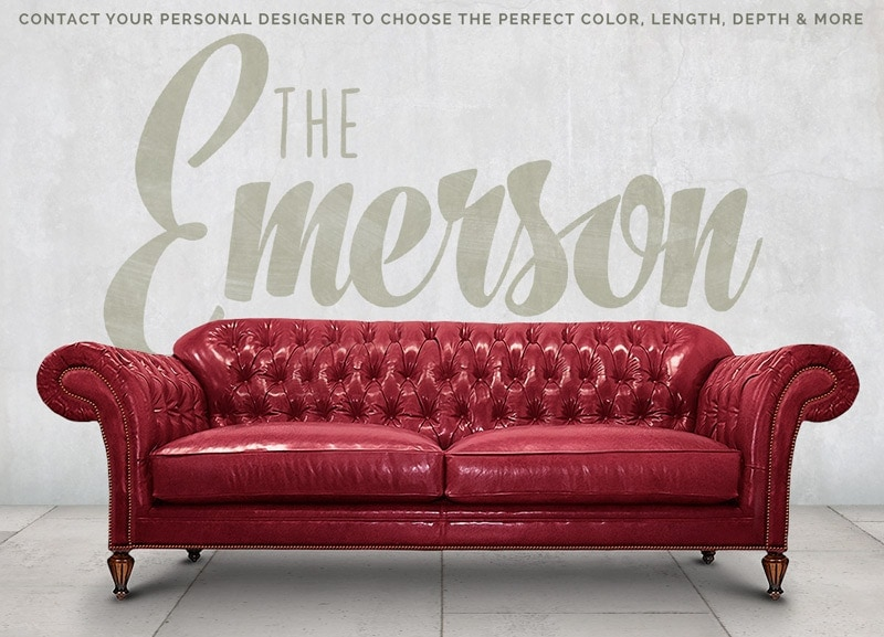 Emerson English Chesterfield in Red Leather