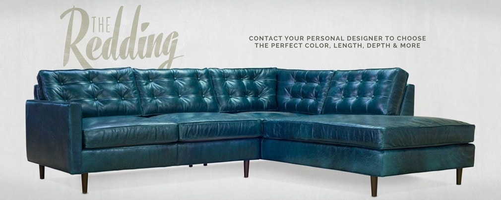 Redding Blue Leather Mid-Century Sectional