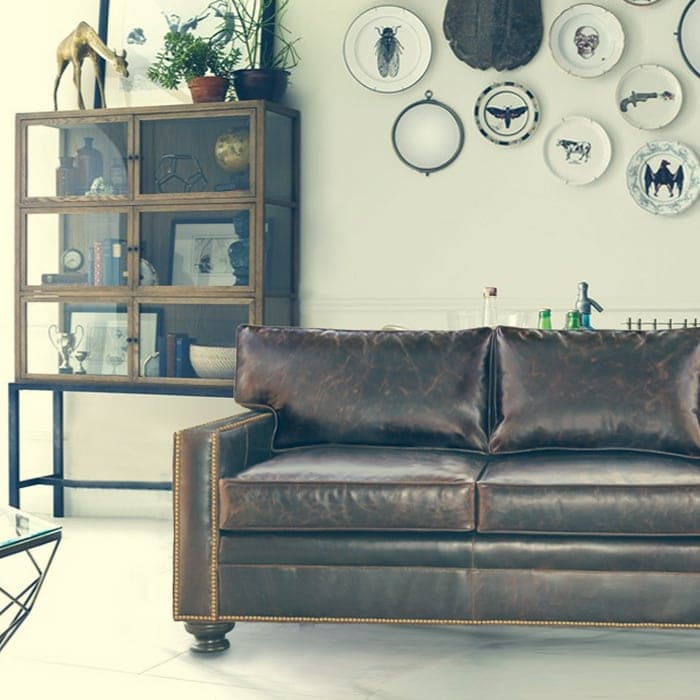 Heston Leather Petite Track Arm Sofa