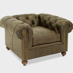 Irving Classic Chesterfield Armchair in Brown Leather