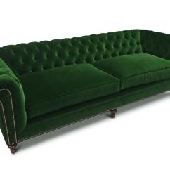 Green Velvet Sofa Couch Do Fleas Live In Sofas The Fitzgerald Classic Chesterfield Of Iron And Oak