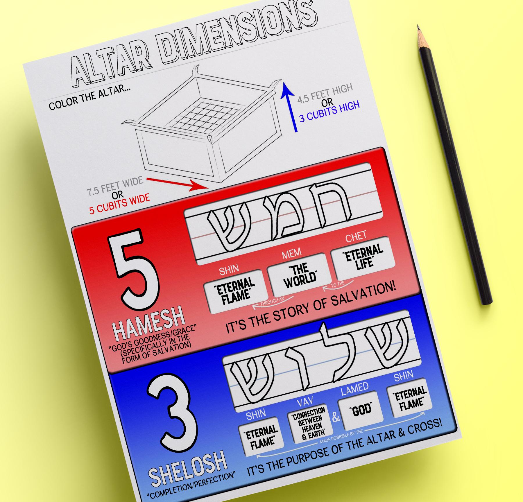 Altar Dimensions Worksheet For Littles