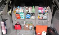 Use a shoe organizer to store essential items in your trunk compartment of your car.