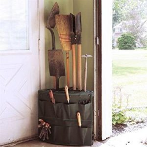 Maximize every inch of your garage space by using a corner storage rack for shovels, brooms and other yard equipment.