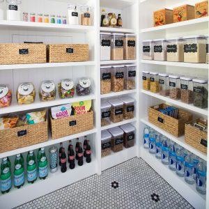 Use baskets and candy containers for storage in your kitchen pantry.