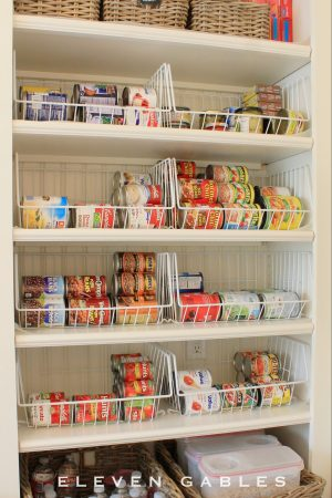 Use wire bins to store canned goods in your pantry.