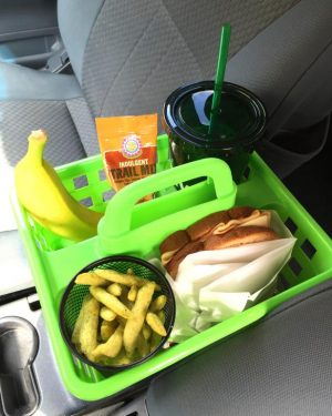 Use shower caddies or buckets to store food in your car to avoid huge messes.