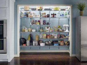Use a closet maid system to organize your pantry. Beautiful!