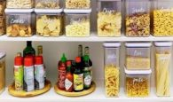 Use stackable containers to store expendable food in your pantry.