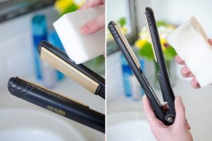 Clean hair and oil build up from your flat iron using just a Magic Eraser. Brilliant!