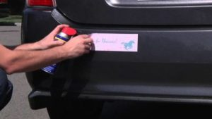 Use WD-40 to get rick of leftover residue from car stickers.