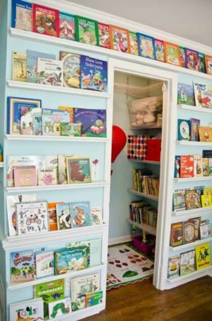 Create a library wall in your kids room.