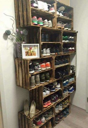 Install or stack wooden crate on top of each other to store and organize your shoes.