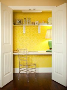 Turn an unused closet into a mini home office. Sweet!