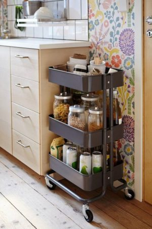 If you are lacking pantry space, then a mobile cart will be a quick fix for storage extra food items.