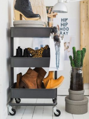 Use a utility cart to store shoes that you no longer have room for in your closet